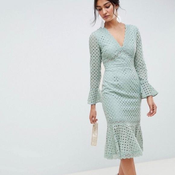 b8445fd4f6079 ASOS Dresses | Nwt Lace V Neck Fluted Sleeve Midi Dress | Poshmark